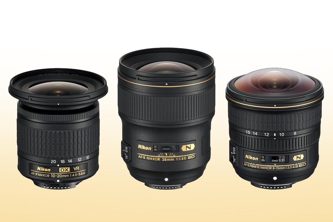 AF-S NIKKOR 28mm f/1.4E ED, AF-P DX NIKKOR 10-20mm f/4.5-5.6G VR, AF-S Fisheye NIKKOR 8-15mm f/3.5-4.5E ED