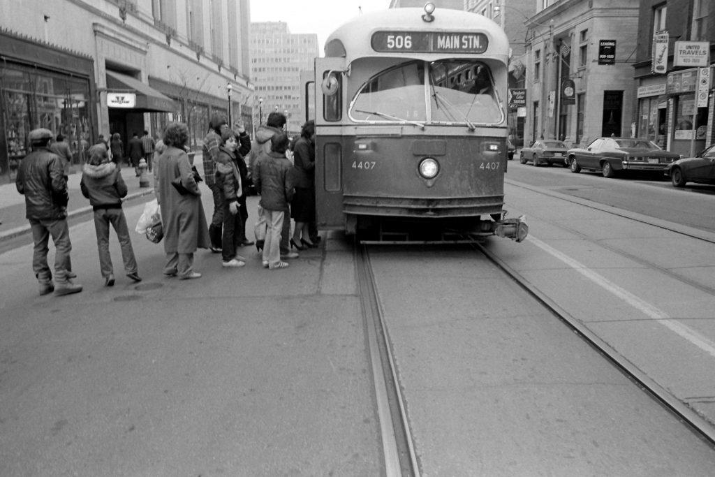 TTC Streetcar, College and Yonge, Toronto, 1981